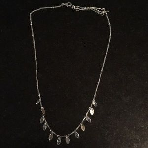Silver Necklace with Mini Leaves / Crystal Detail